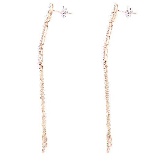 Серьги-гвоздики Casato из золота с длинными подвесками-цепочками в бриллиантах, фото