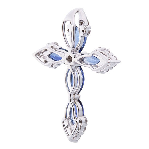 Золотой крестик Оникс с бриллиантами и сапфирами, фото