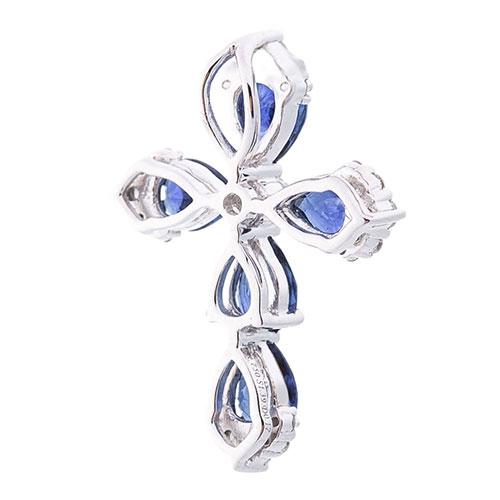 Крестик Оникс с синими сапфирами и бриллиантами, фото