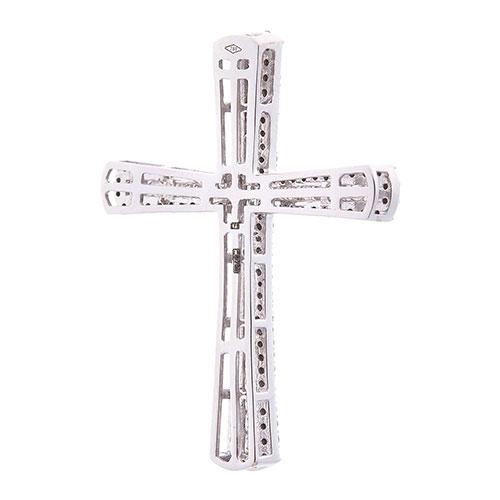 Крестик с бриллиантами Оникс из белого золота, фото