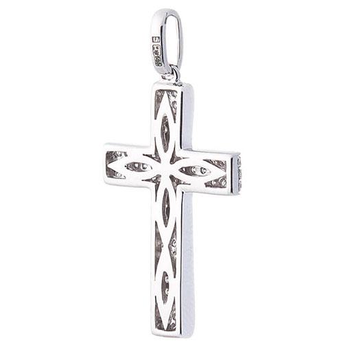 Широкий крестик Оникс из белого золота, фото