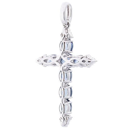 Крестик с бриллиантами и сапфирами Оникс из золота, фото