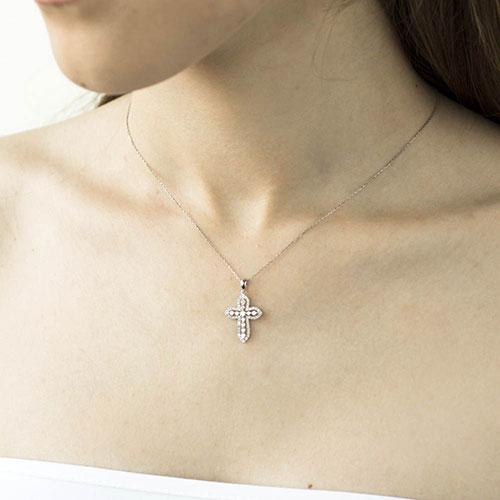 Объемный крестик Оникс с бриллиантами, фото