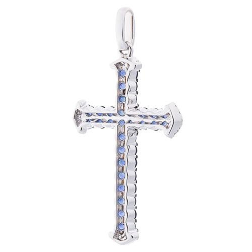 Крестик Оникс с бриллиантами и сапфирами, фото