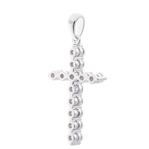Подвеска с бриллиантами Оникс в форме крестика, фото