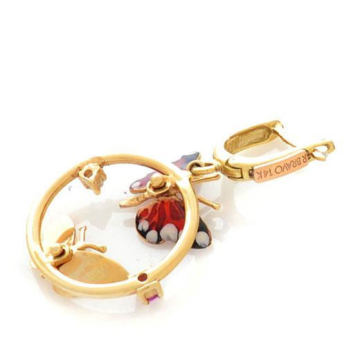 Серьги Roberto Bravo Monarch Butterflies золотые с аметистами и бриллиантами, фото