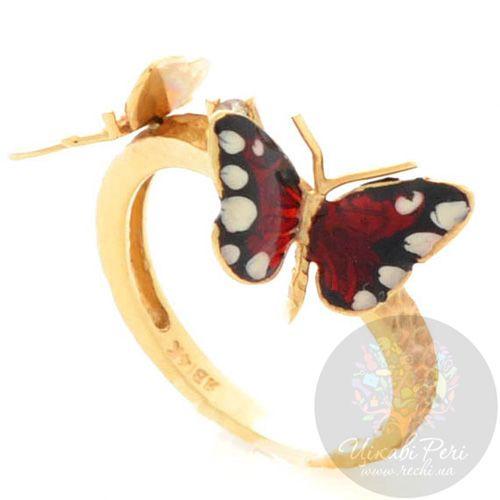 Кольцо Roberto Bravo Monarch Butterflies золотое с бриллиантом, фото