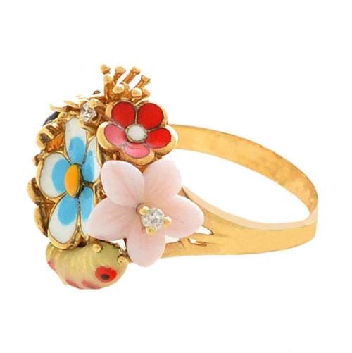 Кольцо Roberto Bravo Noahs Ark золотое с цветами и бриллиантами, фото