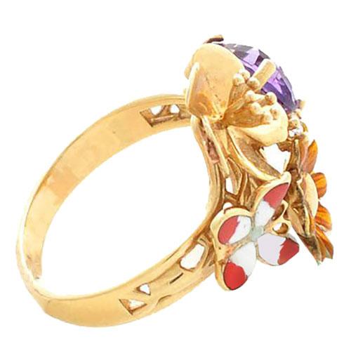 Кольцо Roberto Bravo Noahs Ark золотое с цветами аметистом и бриллиантом, фото