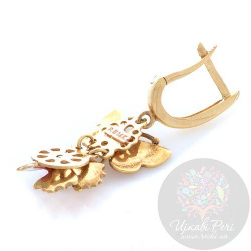 Серьги Roberto Bravo Noahs Ark золотые с бабочками и цветами, фото