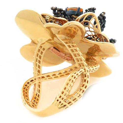 Кольцо Roberto Bravo Gallica золотое в виде цветка с аметистом цитрином и бриллиантом, фото
