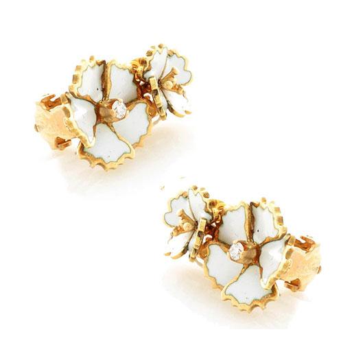 Серьги Roberto Bravo White Dreams золотые с белыми цветами и бриллиантами, фото