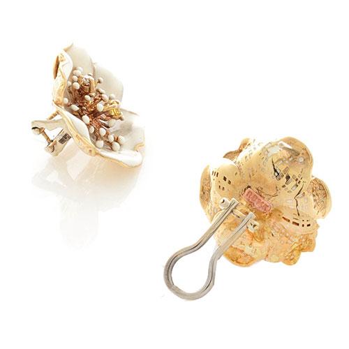 Серьги Roberto Bravo White Dreams золотые в виде белого цветка с цитрином и бриллиантом, фото