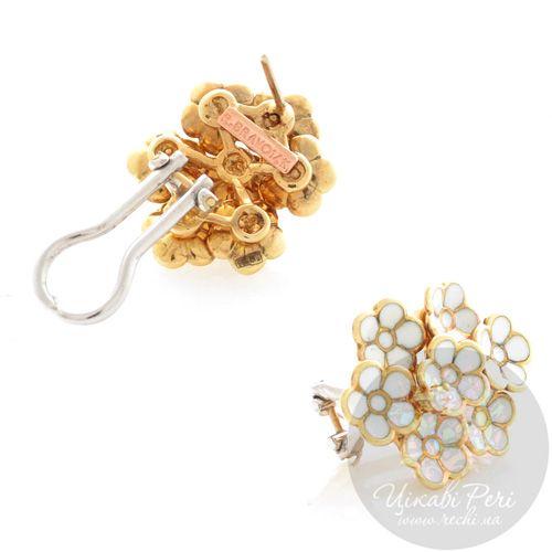 Серьги Roberto Bravo White Dreams золотые в виде белого букета цветов с бриллиантом, фото