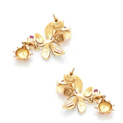 Серьги-гвоздики Roberto Bravo Noahs Ark золотые с длинными подвесками со стрекозами аметистами и бриллиантами, фото