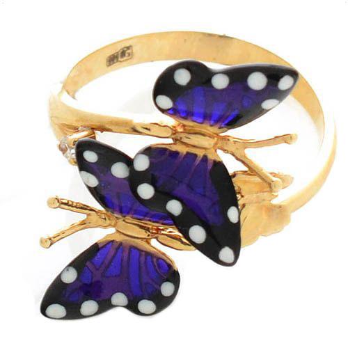 Кольцо Roberto Bravo Monarch Butterflies золотое пурпурное с бриллиантом, фото