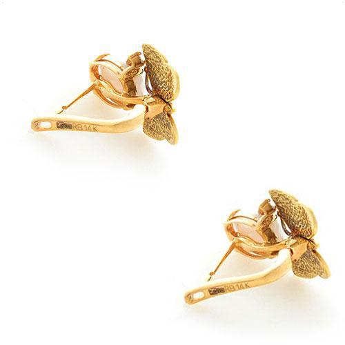 Серьги Roberto Bravo White Dreams золотые с бабочками овальными агатами и бриллиантами, фото