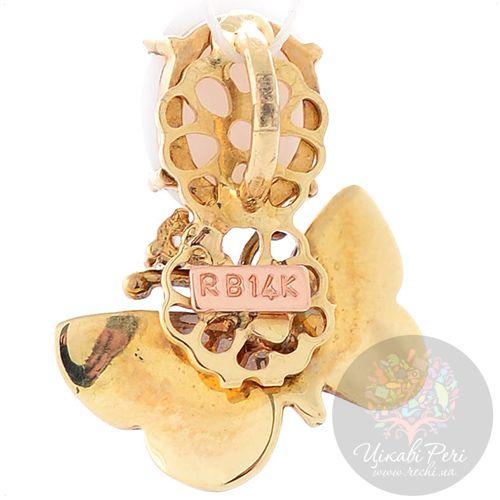 Подвеска Roberto Bravo White Dreams золотая с бабочкой овальным агатом и бриллиантом, фото