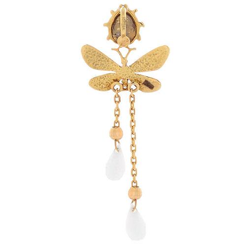 Подвеска Roberto Bravo White Dreams длинная золотая со стрекозой бриллиантом и агатами, фото