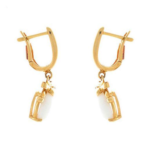 Серьги Roberto Bravo White Dreams золотые с овальными агатами и бриллиантами, фото