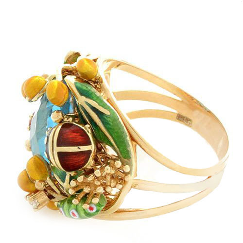 Кольцо Roberto Bravo Noahs Ark золотое с крупным топазом сапфиром и бриллиантами, фото