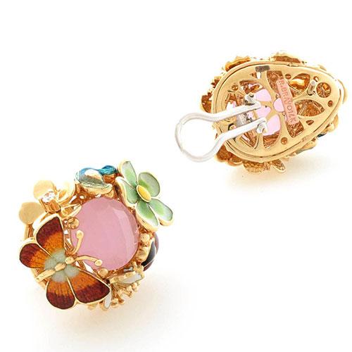 Серьги Roberto Bravo Noahs Ark золотые с розовым кварцем и бриллиантами, фото