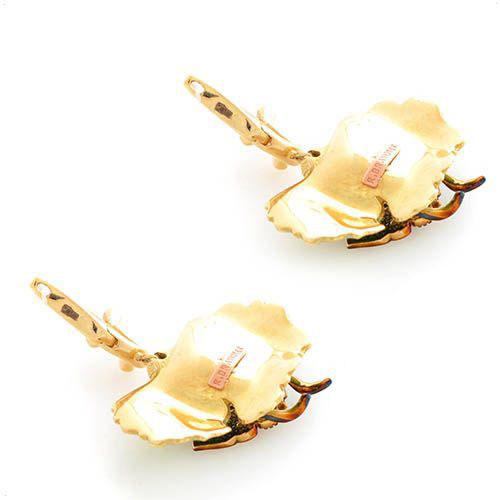 Серьги Roberto Bravo Noahs Ark золотые с бабочками на листочках с бриллиантами, фото