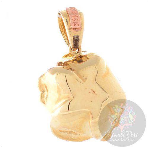 Кулон Roberto Bravo Black Magic золотой в виде цветка с бриллиантом, фото