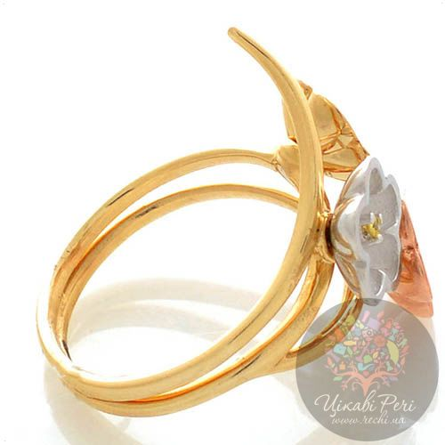 Кольцо Roberto Bravo Karina золотое трехцветное с бриллиантом и сапфирами, фото