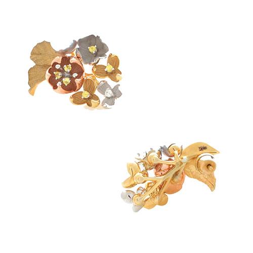 Серьги Roberto Bravo Karina золотые в виде букета с жемчугом и бриллиантами, фото