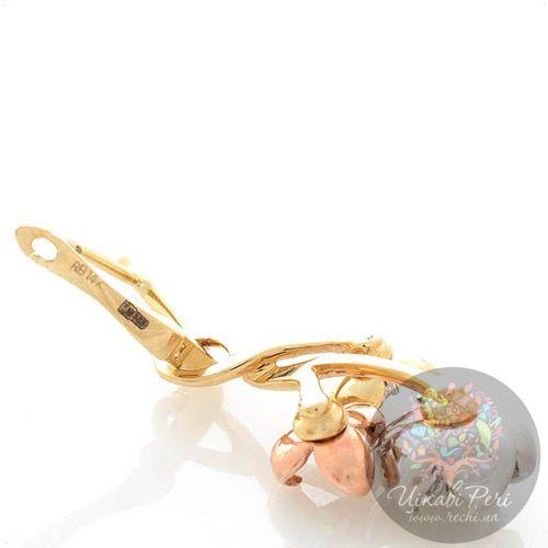 Серьги Roberto Bravo Karina с цветами из белого розового и желтого золота с сапфирами и бриллиантами, фото