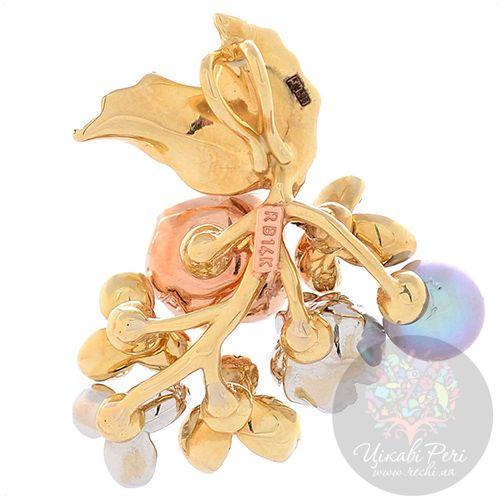 Подвеска Roberto Bravo Karina золотая в виде цветущей веточки с жемчугом бриллиантом и сапфирами, фото