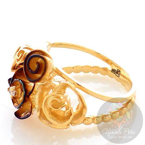 Кольцо Roberto Bravo Gallica с золотыми розами и бриллиантом, фото