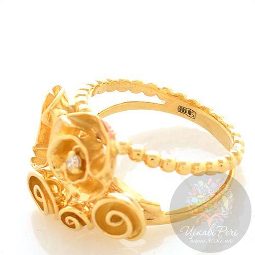 Кольцо Roberto Bravo Gallica с золоыми розами и бриллиантом, фото