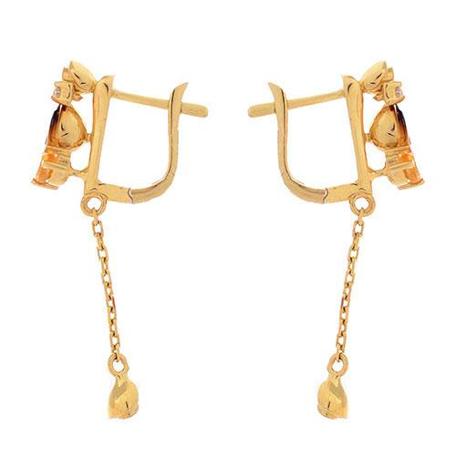 Золотые длинные серьги Roberto Bravo Gallica с бриллиантами цитринами и розами, фото