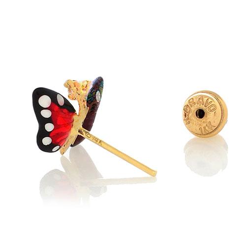 Серьги Roberto Bravo Monarch Butterflies золотые с бабочками и бриллиантами, фото