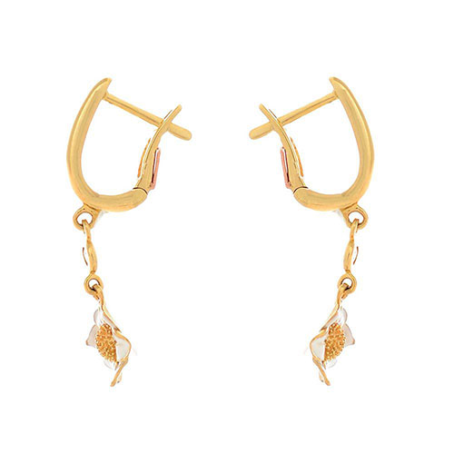 Серьги Roberto Bravo White Dreams золотые с бриллиантами и подвесками в виде цветов, фото