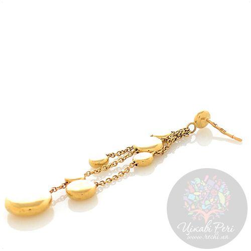 Серьги Roberto Bravo Q Collection из желтого золота длинные с золотыми шарами на цепочках, фото