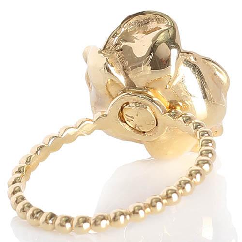 Тонкое золотое кольцо Roberto Bravo из шариков с большим цветком, фото