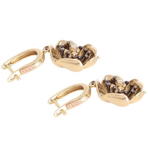 Золотые серьги Roberto Bravo с золотыми цветами на английской застежке, фото