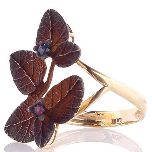 Золотое кольцо Roberto Bravo из шариков с коричневыми лепестками и сапфирами, фото