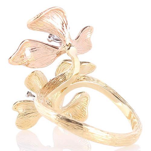 Золотое рельефное кольцо Roberto Bravo Kareena с цветами маттиолы и драгоценными камнями, фото