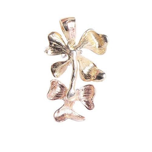 Золотой кулон на шею Roberto Bravo Kareena в форме двух цветов маттиолы, фото