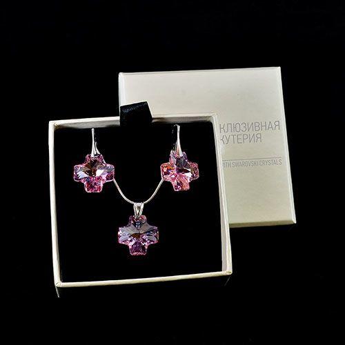 Набор из цепочки с кулоном и сережек She Happy Розовый кварц, фото