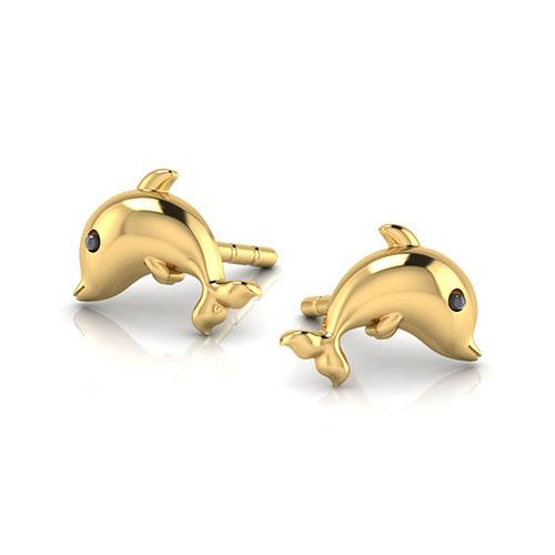Золотые серьги-пусеты Perfecto Jewellery Kids Collection Дельфины ue00495-yg0000, фото