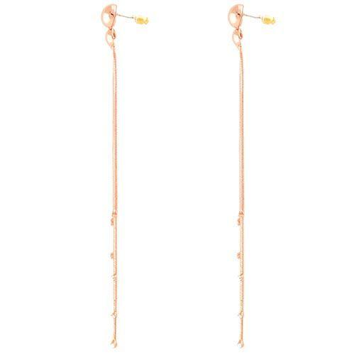 Длинные серьги-пусеты золотистые со стразами на подвижных цепочках, фото