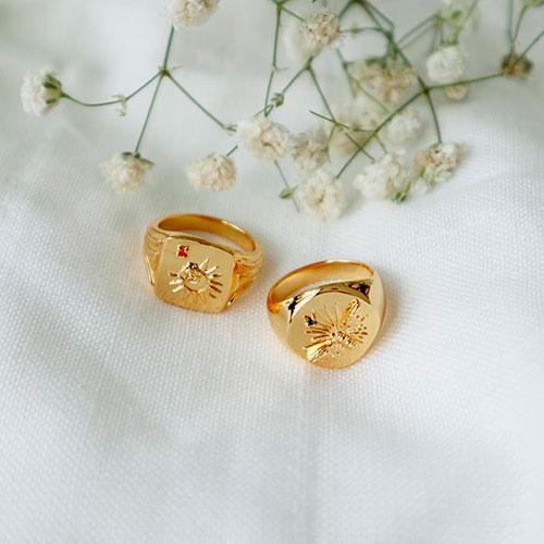 Перстень Wanderlust + Co Reverie Solis с символом солнца, фото
