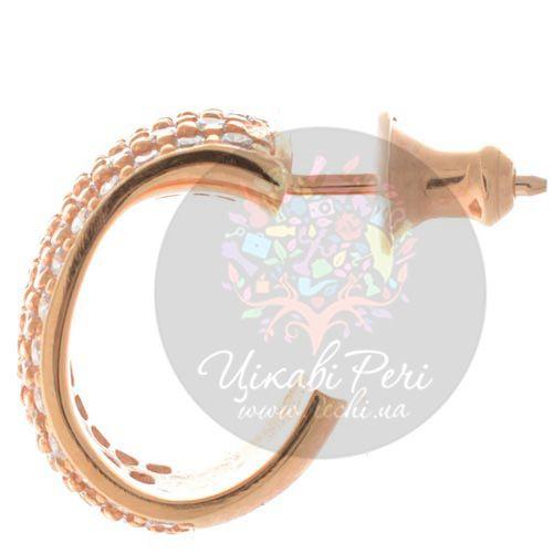 Серьги-пусеты Pesavento в розовой позолоте с цирконами, фото