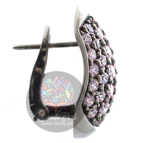 Серьги Pesavento с розовыми цирконами серебряные на итальянском замке, фото