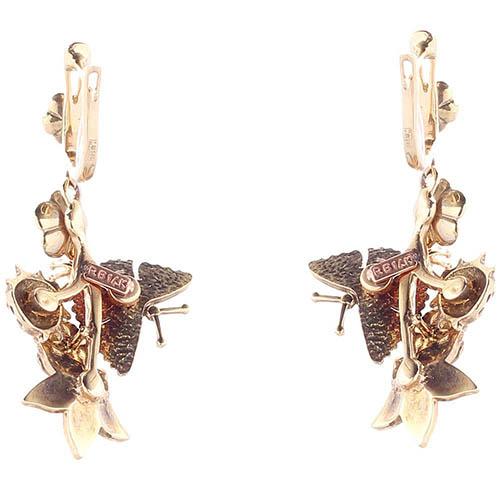 Серьги Roberto Bravo White Dreams с подвесками цветами и бабочками с бриллиантами, фото